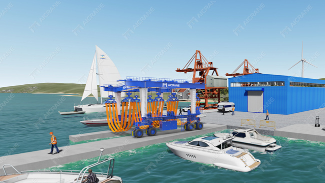 mobile boat hoist used for yacht handling